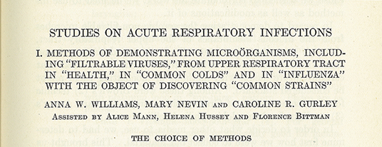 Anna Wessels Williams first publication in <em>The Journal of Immunology</em>, 1921 6, no. 1