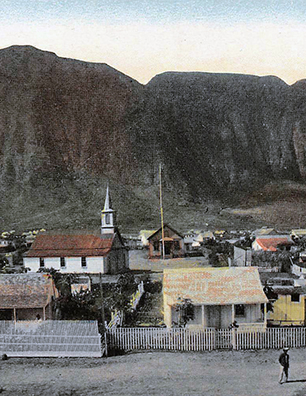 Postcard of Leper settlement at Kalawao