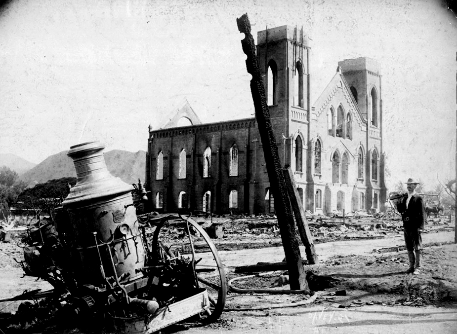Kaumakapili Church after the fire, 1900