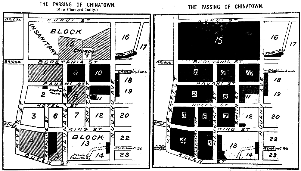 """The Passing of Chinatown"" before (January 20) and after (January 24) the fire,"" 1900"