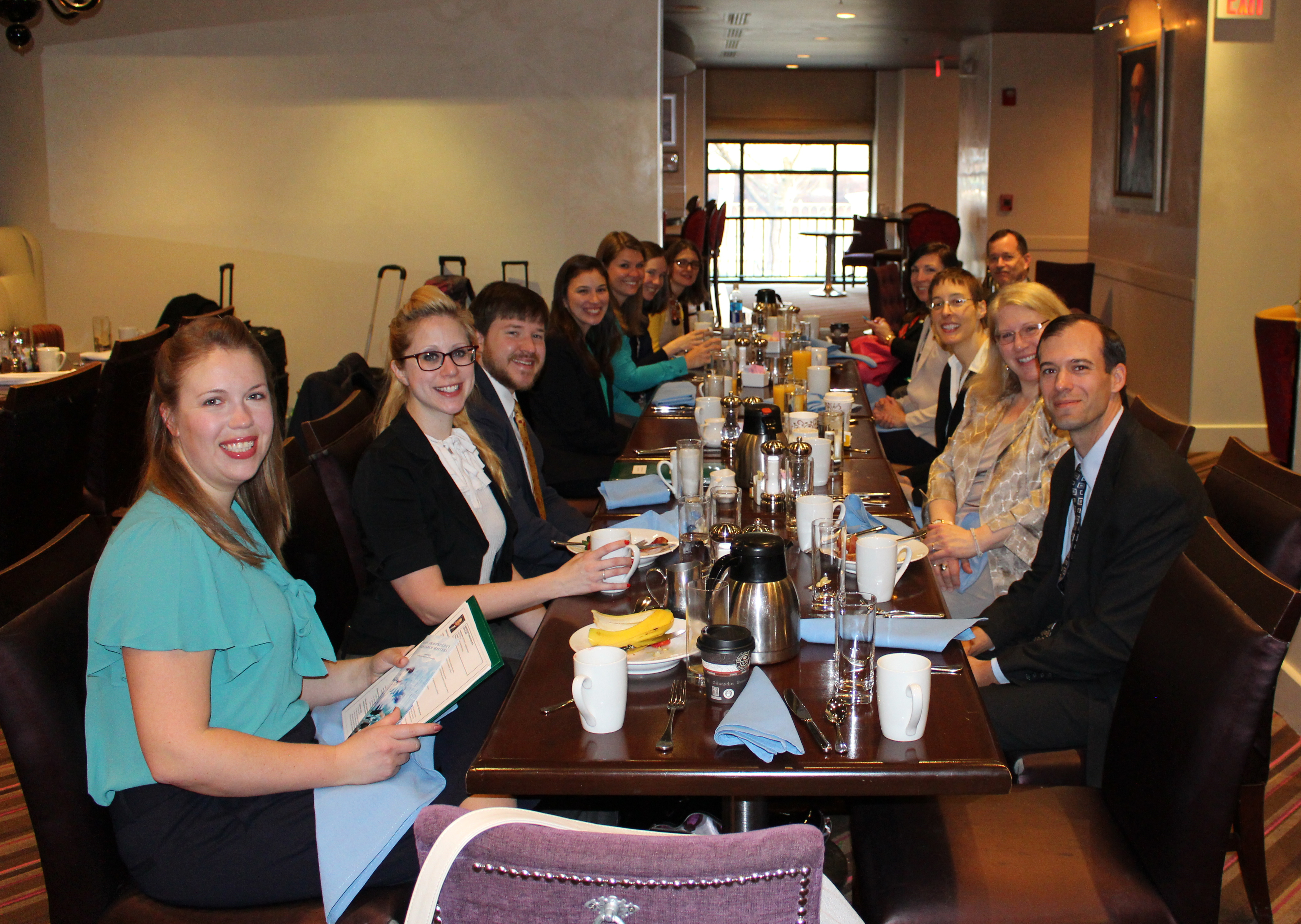 Fellows, CPA members, and staff at breakfast preparing for Capitol Hill Day
